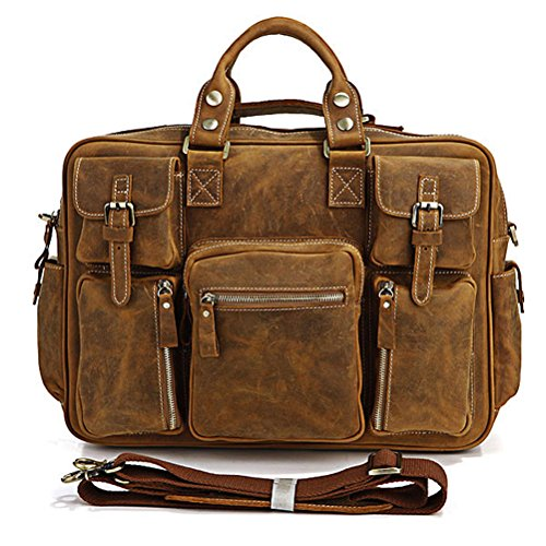 """Seltene Crazy Horse Leder Herren Aktentasche Laptop-Tasche Versand Schulter Riesige Handtasche (16.5 """"L x 5"""" W x 12 """"H) (Hell braun) braun-gelb"""