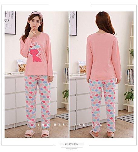 Naughtyspicy pigiama da donna / pigiama di stampa carina di cartone animato / completo di primavera e autunno Rosa / Big Red Cat / Fishes