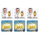 6 tlg Set Untersetzer - 9 x 9 cm - Bier schmeckt immer sagt der Arzt
