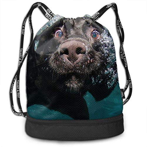 ewtretr Turnbeutel Hipster Sporttaschen Funny Black Labrador Retriever Dog Swimming with Expressive Face Shoulder Bags Travel Sport Gym Bag Print - Yoga Runner Daypack Shoe Bags -