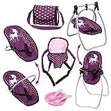 Bayer Design 63637AB 9-in-1Vario set, con seggiolone, borsa, vettore, piatto, forchetta, cucchiaio, accessori per bambole, Unicorn Style, rosa, viola