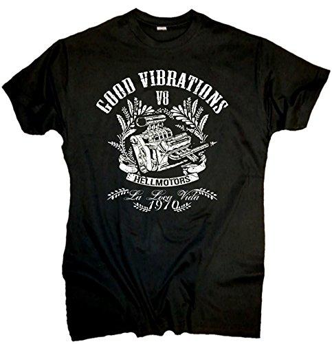 HELLMOTORS * Big Block - Cooles V8 Shirt für echte Männer im Oldschool Style (XXL)