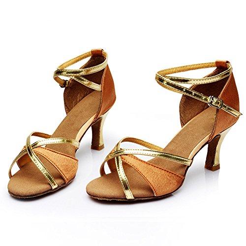Latin Tanzschuhe mit hohen Absätzen und weichen Boden tanzen Gesellschaftstanz Schuhe Brown