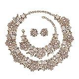 Holylove Damen Statement Halskette Weiß, Costume Schmuck für Damen Neuheit Mode Halskette Ohrringe Armband 1 Set mit Geschenkbox- HL8041B White