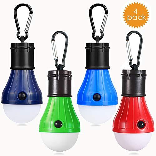 Camping LED Campinglampe mit Karabiner JTENG Camping Lantern 4 Stücke Zeltlampe Glühbirne Set Camping Lampen wasserdicht mit Karabiner Rucksack Licht für Abenteuer, Angeln,