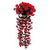 DELEY Hängende Wisteria künstliche Seide Violett Blume Kunstblume Hochzeit Partei Hotel Wand Tür Haus Decor Dekoration Rot