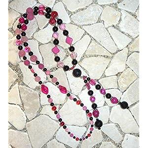 lange Y – Kette – schwarz & pink –