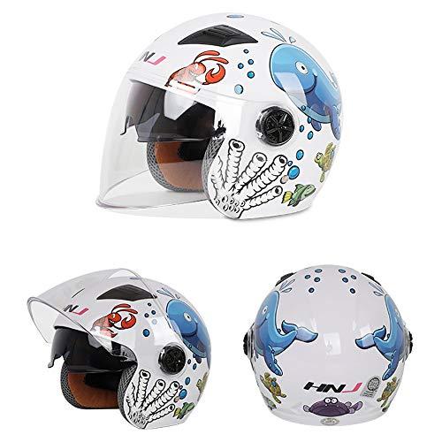 YAJAN-helmet Bambino Casco per Bambini,44-50cm 3-6 Anni Casco Four Seasons Urban Skate Casco Moto Harley Battery Car