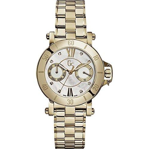 Gc Gc Femme Ladies Gold PVD MOP Dial Day & Date Diamond Set Watch X74111L1S (Guess Watch Damen)