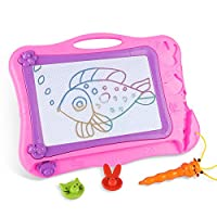 DUTISON Magnetic Drawing Board Doodle Sketch Board for Kids Colorful Sketching Erasable Pad With 2 Stamps and 1 Pen for Children Girls Boys (Pink)
