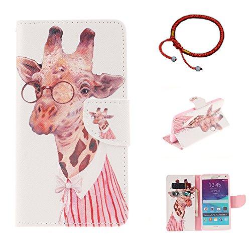 GOCDLJ Samsung Galaxy Note 4 Hülle PU Leder Flip Cover Tasche Ledertasche Handytasche Schutzhülle Handyhülle Case Etui Wallet Messer Form Magnetverschluss Shell Design Giraffe mit Brille