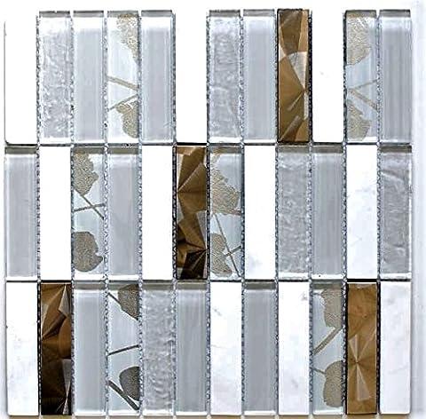 Mosaic Tile Square Natural Stone Crystal Transparent/Steel Mix 1Sheet White