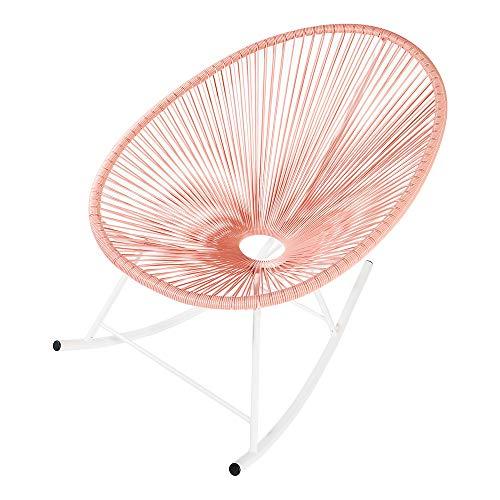 Retro Acapulco Lounge Relax Schaukelstuhl Rocking Chair Rahmen & Füße Pulverbeschichtet Indoor & Outdoor Lachs