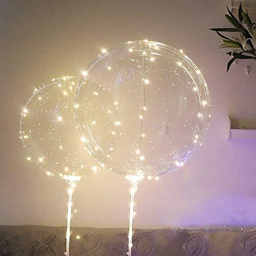 VNEIRW LED-Ballons,LED-Leuchtenden Luftballons mit Halterungsstäben,45,7 cm/ 3 m (18 Zoll/9,84 Fuß), für Geburtstage, Hochzeiten, Dekoration,Nacht Party Supplies,Warmes weißes Licht (3pc)
