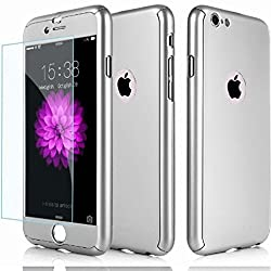 Hybrid 360° Shockproof Case Tempered Glass Cover Apple Iphone 8 7 5 5s Se 6 6 Plus 6s Plus 7 Plus & 8 Plus (For Iphone 6 6s, Silver)