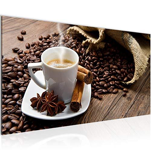 Bilder Kaffee Coffee Wandbild 100 x 40 cm Vlies - Leinwand Bild XXL Format Wandbilder Wohnzimmer Wohnung Deko Kunstdrucke Braun 1 Teilig - Made IN Germany - Fertig zum Aufhängen 501812a
