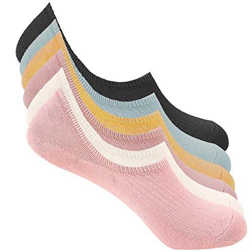 Bestele 6 Paar Unsichtbare Socken für Damen und Herren,Sneaker Socken Baumwoll Unsichtbar Kurzsocken Rutschfeste für Loafers Boots Schuhe, 6 x eiscremefarben, 34-40