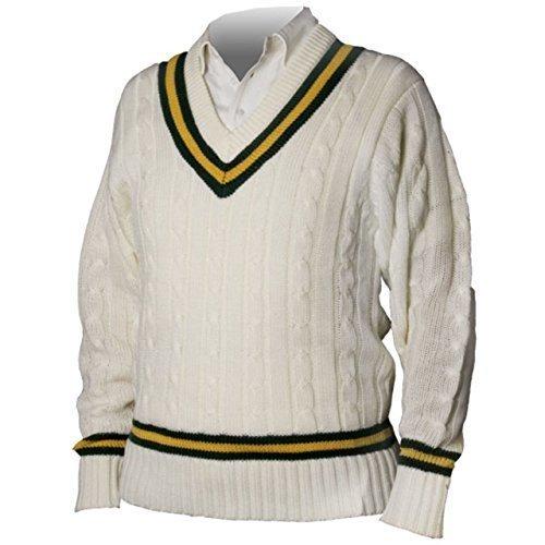 OSG – Kricket Pullover Traditioneller Stil Acryl Einfarbiger Pullover – Grün – Bernstein, L