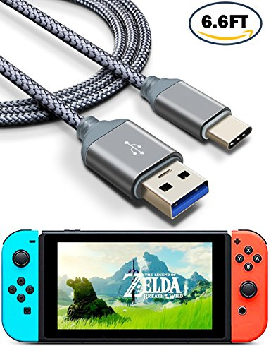 Price comparison product image Nintendo Switch Cable, Higoo 2M [6.6FT] Fast Charging Cable USB C Data Cable Nylon Braided Charging Cord Reversible USB Cable for Switch Macbook Nokia N1 Gopro Huawei Honor Nexus Pixel OnePlus (Grey)