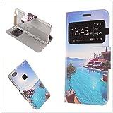 MISEMIYA Coque Cover pour Huawei P10 Lite - Étui + Protecteur Verre Trempé, Cover Dessin Avec Support,B36