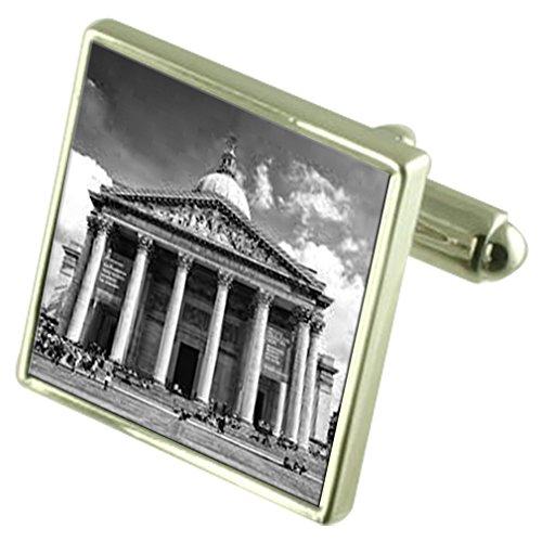 Pantheon Griechenland Sterling Silber Manschettenknöpfe graviert Box Optional Sterling Pantheon