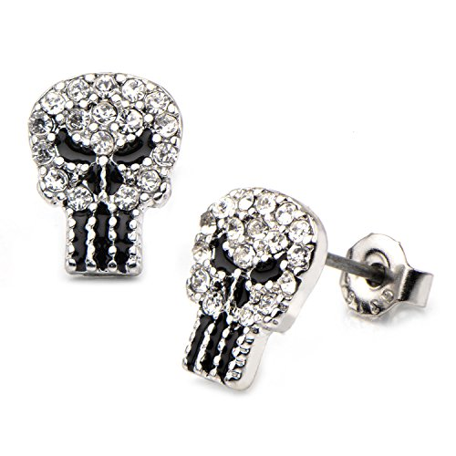 Marvel Punisher Skull Logo with Rhinestones Stud Earrings