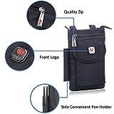 Hengying Herren Männer Nylon Kleine Umhängetasche Gürteltasche Mini Handy Tasche mit Gürtelclip Reißverschluss für iPhone 7 Plus 6S Plus 6S Galaxy S8 Plus S7 J5 Xperia Xa1 5'' 5,5'' (Schwarz) - 5