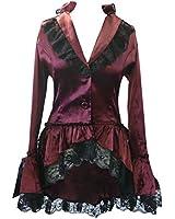 Satin Corset Bustle Lace Ruffle Jacket Gothic Steam-Punk Victorian Vintage Fancy Dress Sizes 8-28