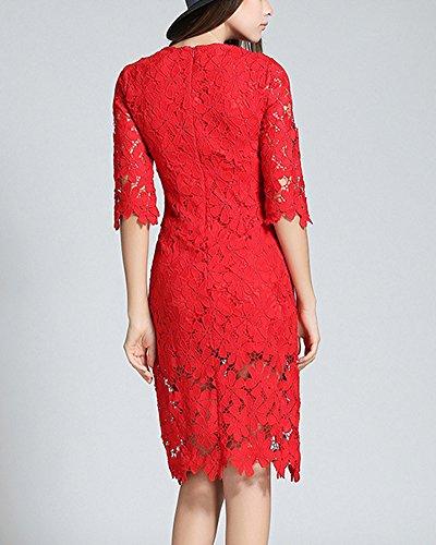Spitzenkleid Damen Etuikleid Druckkleider Abendkleid Cocktailkleid Rot