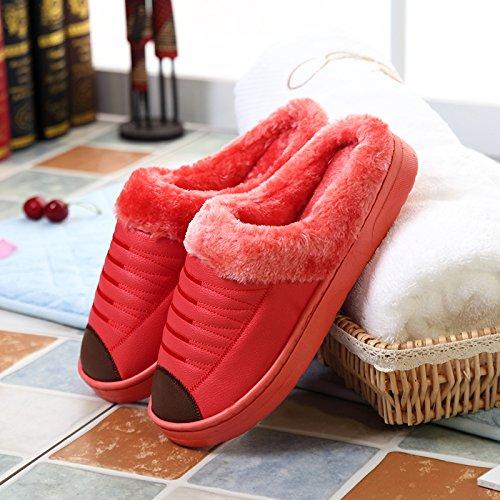cotone home PU uomini inverno fankou pantofole pack in cashmere a piscina Kaffee metà con Farbe ladies spesso fondo impermeabile Coppie caldo pelle BW5wTnB