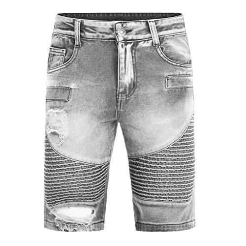 FWQIANGHZI Shorts Herren Sport Jeans Jogger-Denim Freizeithose Kurze Hosen Mit Elastischem Bund Und Destroyed-Optik Aus Stretch-Material Slim Fit Hoch Wertige Street Style Ripped Loch (ohne Gürtel)