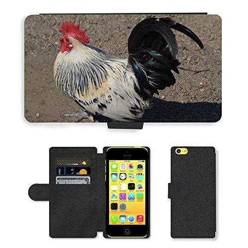 Just Mobile pour Hot Style Téléphone portable étui portefeuille en cuir PU avec fente pour carte//m00138498Hahn Peigne en plumes d'oiseaux Gockel//Apple iPhone 5C
