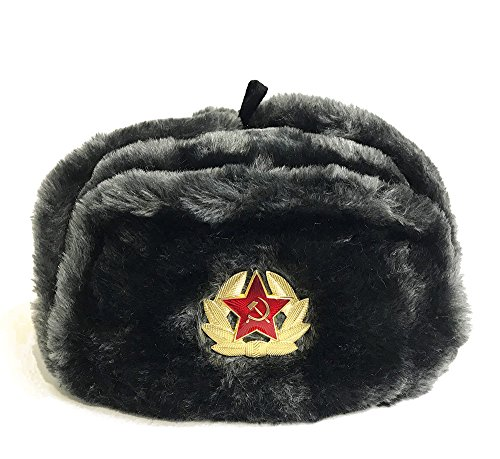 Mütze mit Ohrenklappen, dunkelgrau, UdSSR (62, Dunkelgrau)