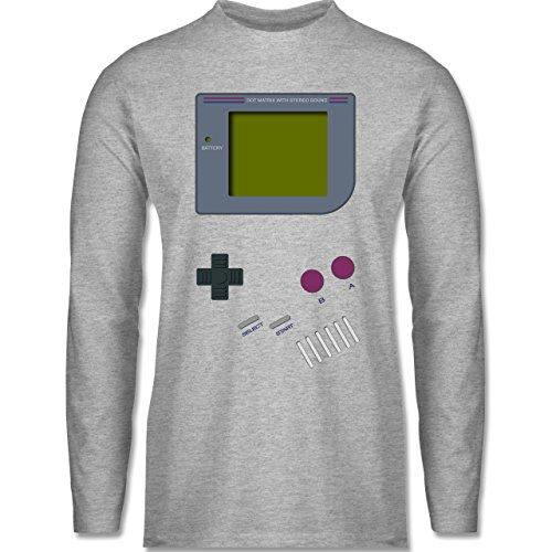 Für Kostüm Nerd Arbeit - Shirtracer Nerds & Geeks - Gameboy - L - Grau meliert - BCTU005 - Herren Langarmshirt