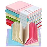 Shulaner Style Classique Bloc-Notes Agenda Notebook Mignon Smiley Carnet Kawaii Cahier Mini Diary with Leather 100 Feuilles, Couleur aléatoire, Ensemble de 6