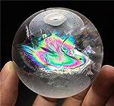 AITELEI Natürliche Regenbogen Fluorit Edelstein Kugel Crystal Quartz Ball Weiße Kristallkugel mit Regenbogen Licht Crystal Healing Skulptur Figur Fengshui Dekor