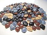 Glas Tropfen Mosaiksteine 300g verschiedene Mischungen: Grau mit Orange, Rot, Braun, Beige etc. 4mm stark (Grau Beige Braun Mix)