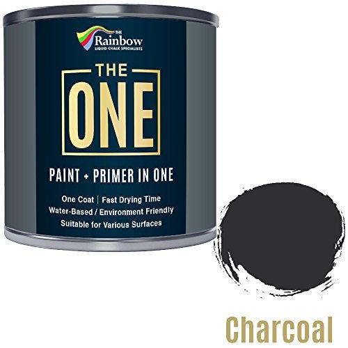 Una pintura, una capa, pintura, para aplicar en múltiples superficies como; madera, metal, plástico, ideal para interiores y exteriores, color carbón, mate, 1 litro
