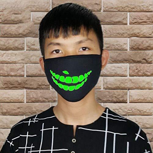 Kostüm Anti Zombie - ZXIU Masken für Kostüme Cartoon Gesicht Mund Masken Unisex Party Leucht Masken Dekor Radfahren Anti-Staub Staubdicht Mund Gesichtsmaske