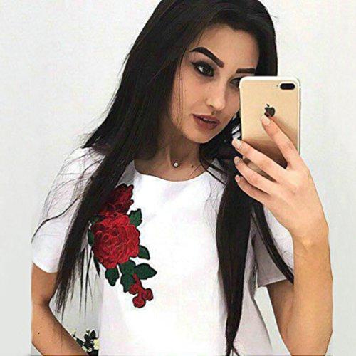 WanYang Damen Drucken Mode Tops Kurzarm O-Ausschnitt T- shirt Vintage Blumen Stickerei Freizeit Tops Basic Slim Shirts Weiß
