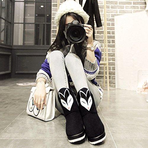 Y-Hui ugg Stiefel weiblichen kurzes Rohr im Herbst und Winter warme Baumwolle Stiefel Studenten eine Dicke Rutschfeste Unterseite kurze Stiefel, 40-41 (3839), Schwarz (Ugg Schwarze Kurze Boots)