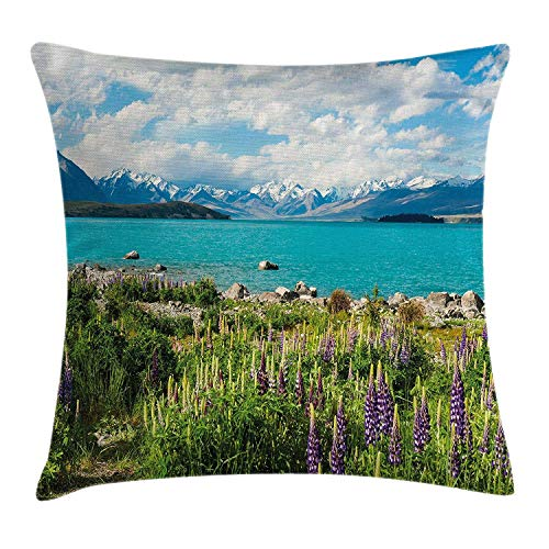 Nature Throw Pillow Cushion Cover by, Tekapo Lake with Blooming Lupins on Shore Southern Alps Meadow New Zealand, Decorative Square Accent Pillow Case, 18 X 18 Inches, Green Blue White