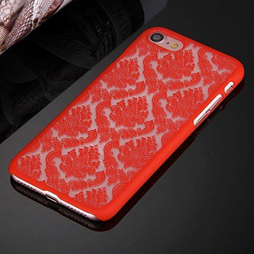 GHC Cases & Covers, Für iPhone 7 Präge Blumen Muster Kunststoff Schutzhülle ( Color : White ) Red