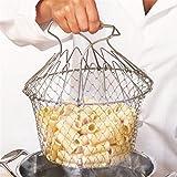 Lebensmittelqualität faltbar Frittieren Chef Basket Dampf Spülen Zugentlastung Magic Korb, Silberfarben