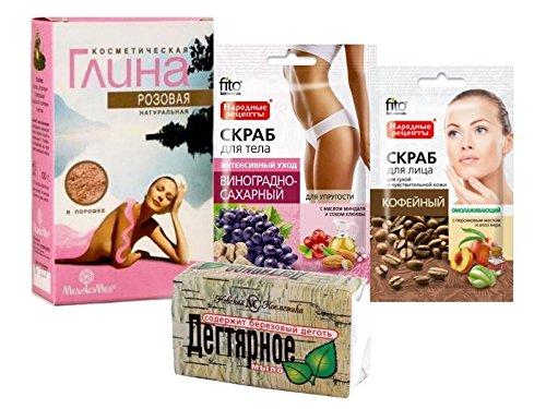 cura-del-corpo-kit-pink-argilla-cosmetica-100g-medikomed-tar-soap-bar-nevacosmetic-140g-cofee-viso-s