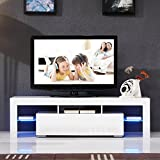 UEnjoy 160cm TV Unit Cabinet Flow, Carcass in White matt / Front in White High Gloss with LED Lights