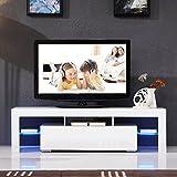 """UEnjoy Modern High Gloss TV Unit Cabinet LED TV Stand Glass Shelves for Living Room (White 160cm / 63"""")"""