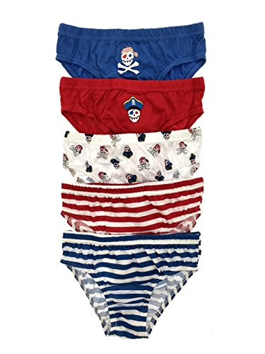 New Kids Boys 5 Pairs Pack 100% Cotton Striped Briefs Childrens Underwear Pirate - Red/Blue 5-6 Years