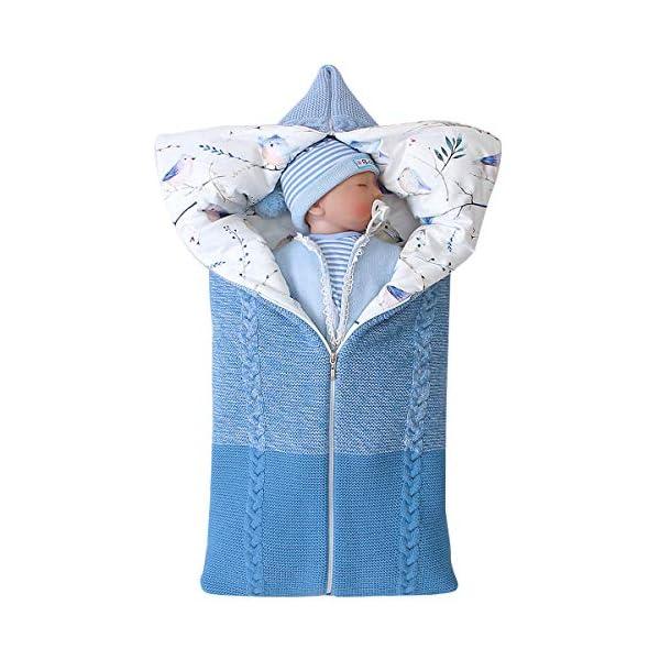 manta de cochecito de bebé, manta de bebé recién nacido saco de dormir cálido de invierno para bebés o niños de 0-12 meses (Azul)
