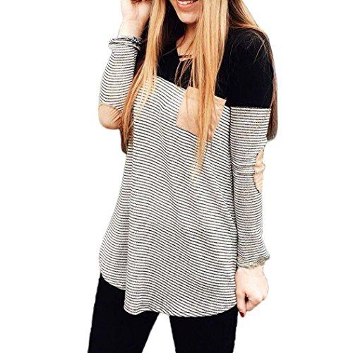 Koly_Le donne a righe tasche pullover girocollo in cotone camicetta camicia delle parti superiori (S)